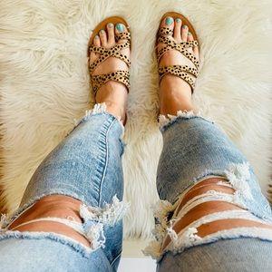 Tan Cheetah Strappy Toe Ring Sandals